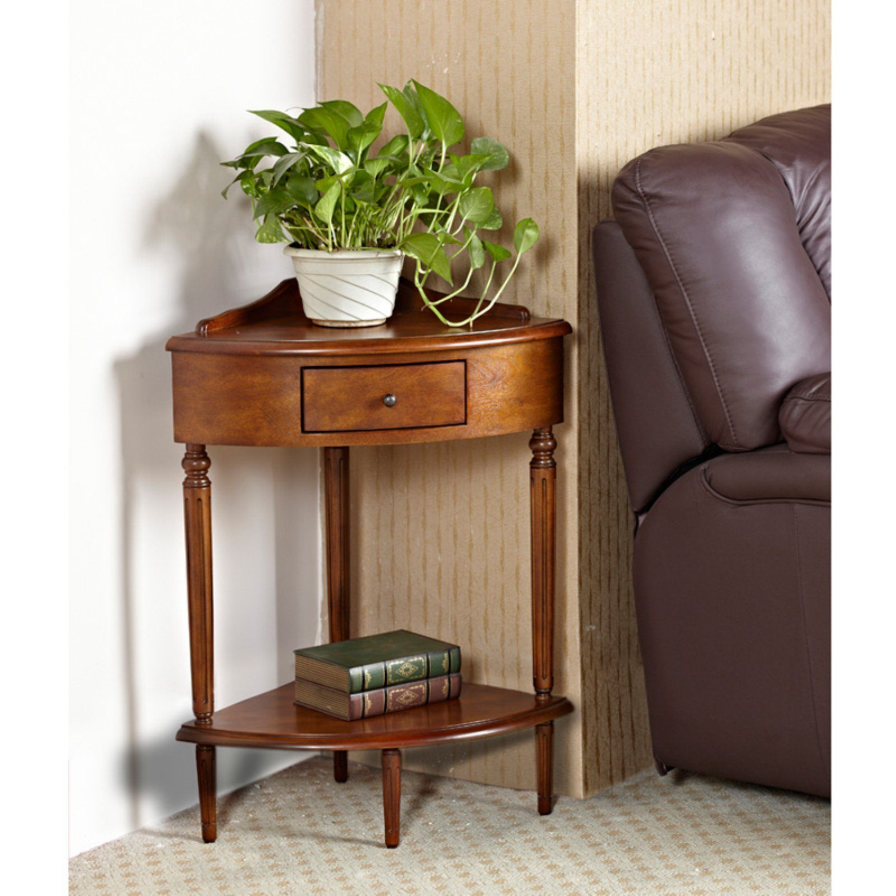 Leick Home Corner Hardwood Accent Table Corner Accent Table