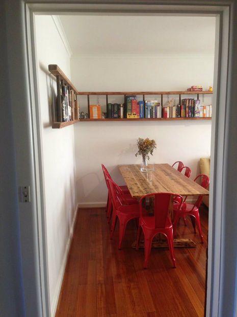 Wall-mounted Horizontal Ladder Shelf | Ladder shelf decor ...