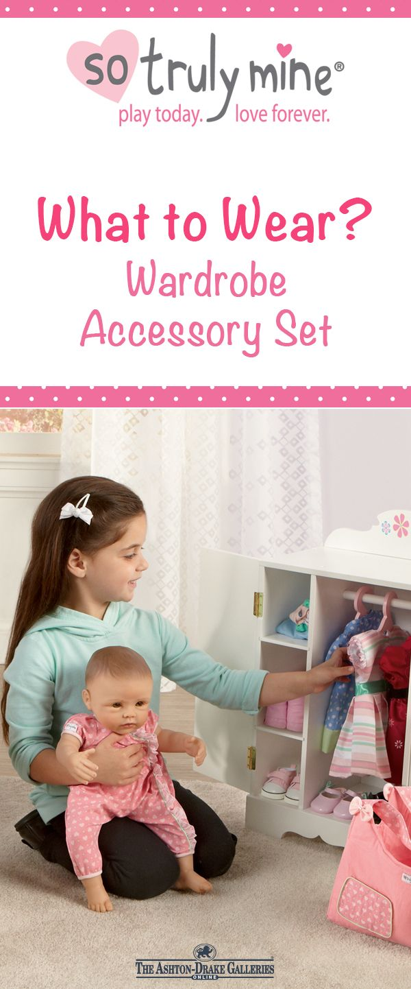 Your little one can keep the clothes and accessories of her So Truly Mine  baby doll neat and organized with this adorable wardrobe featuring 3 pink  hangers ... 1cbc7888b