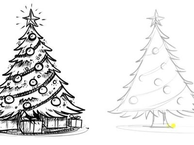 Christmas Tree Easy Mixed Media Canvas Christmas Tree Drawing Christmas Tree Drawing Easy Realistic Christmas Trees