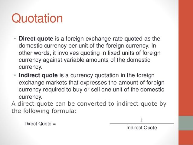 Direct Quote What Is Direct Quote And Indirect Quote In Foreign Exchange  Like