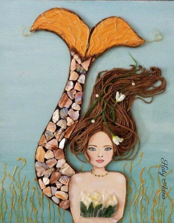 Mermaid Print Coastal Decor Beach Cottage Nautical Decor Mermaid Bathroom Acrylic Painting Beach Wall Art Mixed Media Ocean Decor #mermaidbathroomdecor