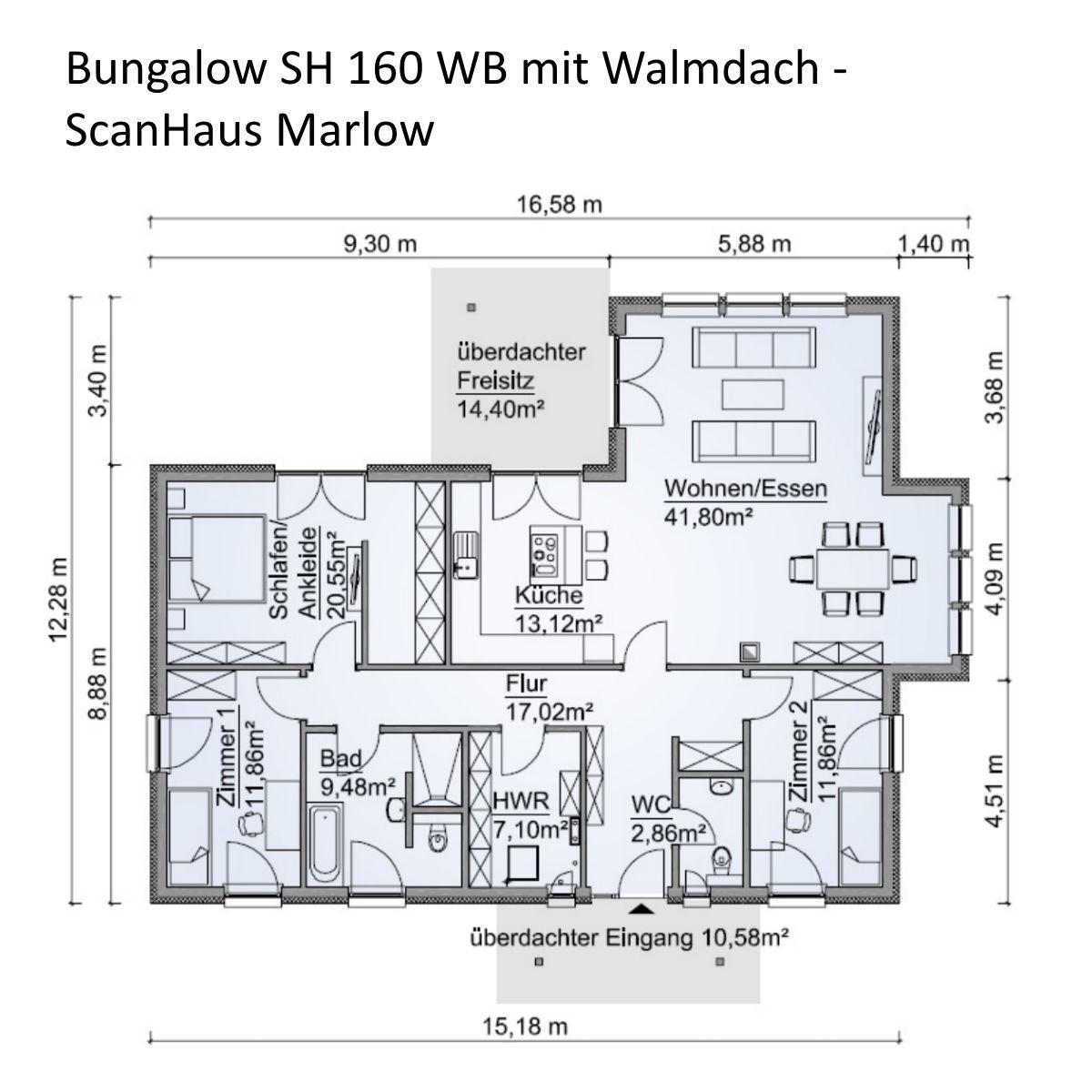 Winkelbungalow Grundriss 4 Zimmer mit Walmdach Architektur