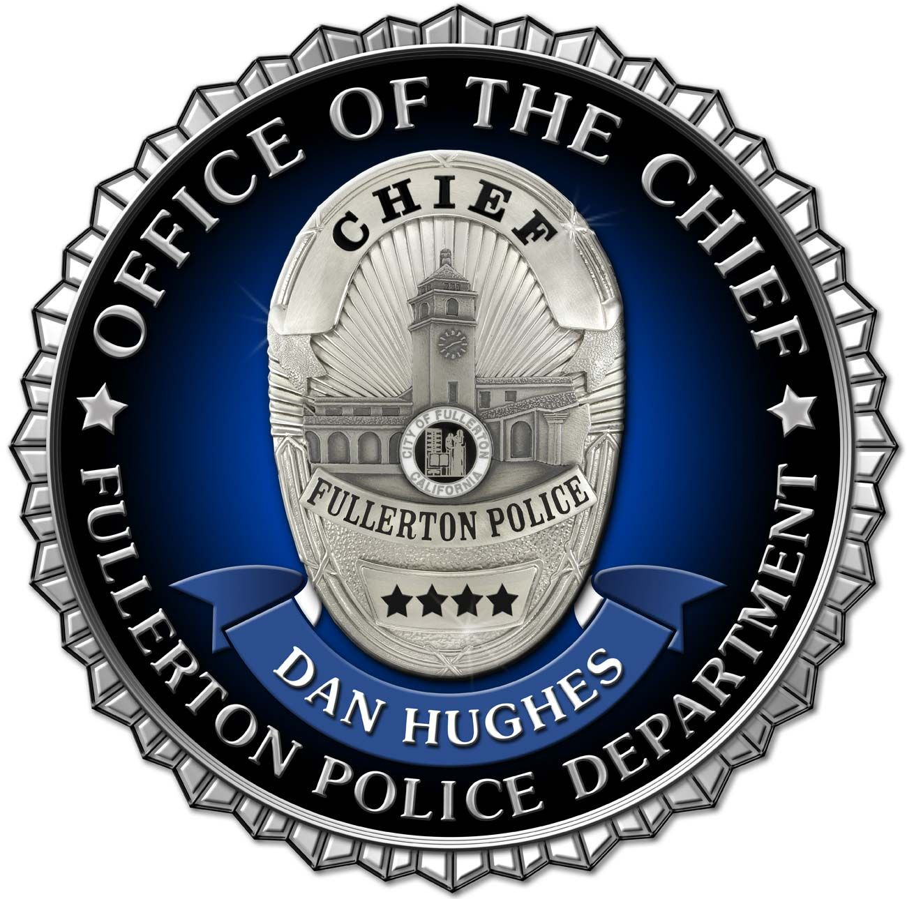 Fullerton Pd Chief Seal With Scalloped Edges See Our Webite Section Emblems Seals For 100 S More Emblems Sheriff Badge Police