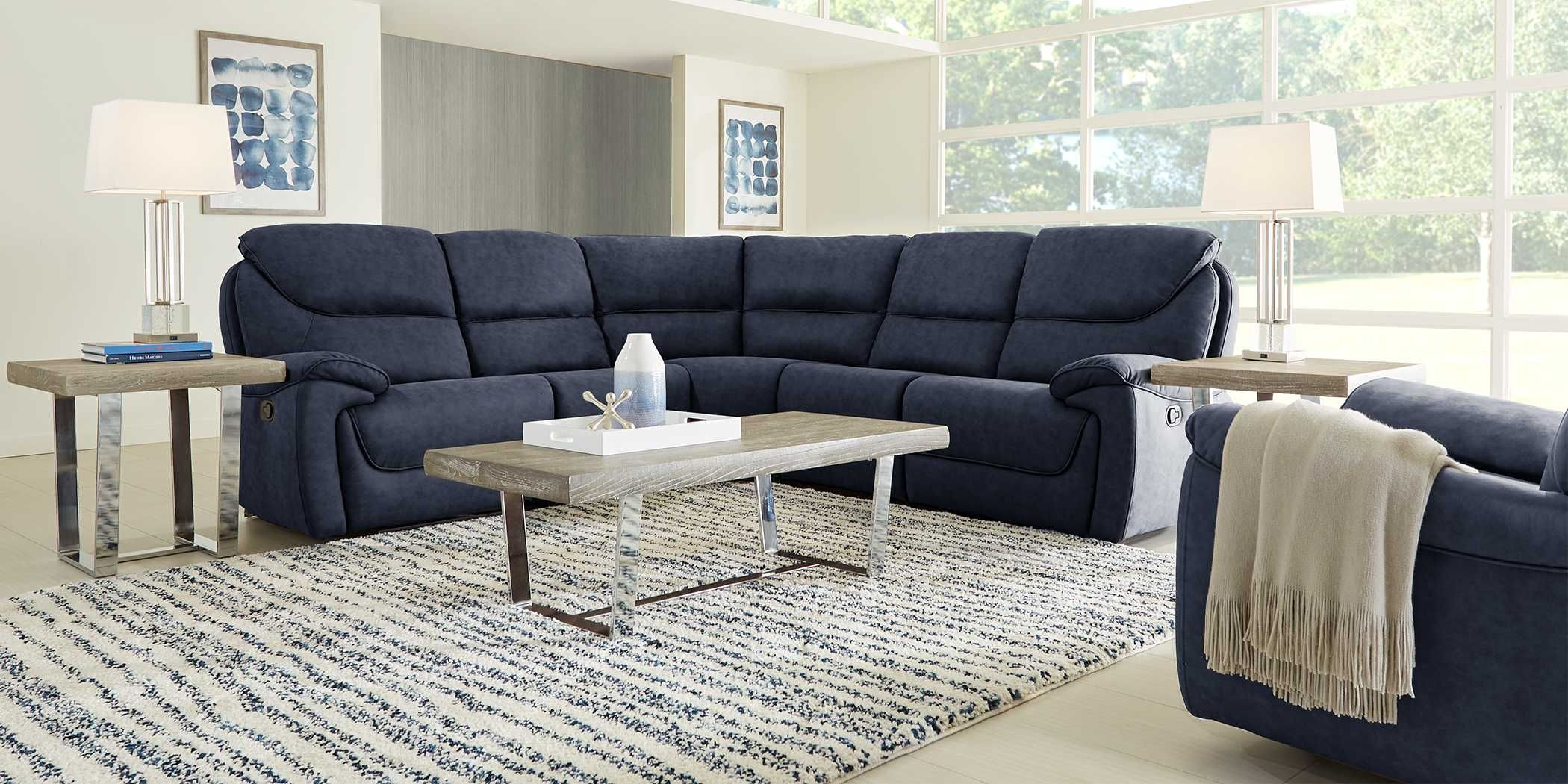 South Brook Blue 5 Pc Reclining Sectional Rooms To Go Reclining Sectional Comfortable Sectional Blue Reclining Sofa
