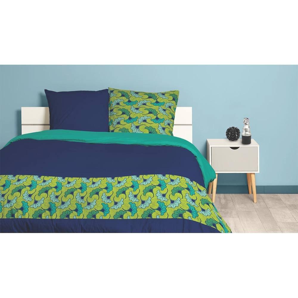 Parure De Lit Caraibes Imprime Reversible Jaune Bleu 240x220 Cm Parure De Lit Housse De Couette 220x240 Decoration Maison