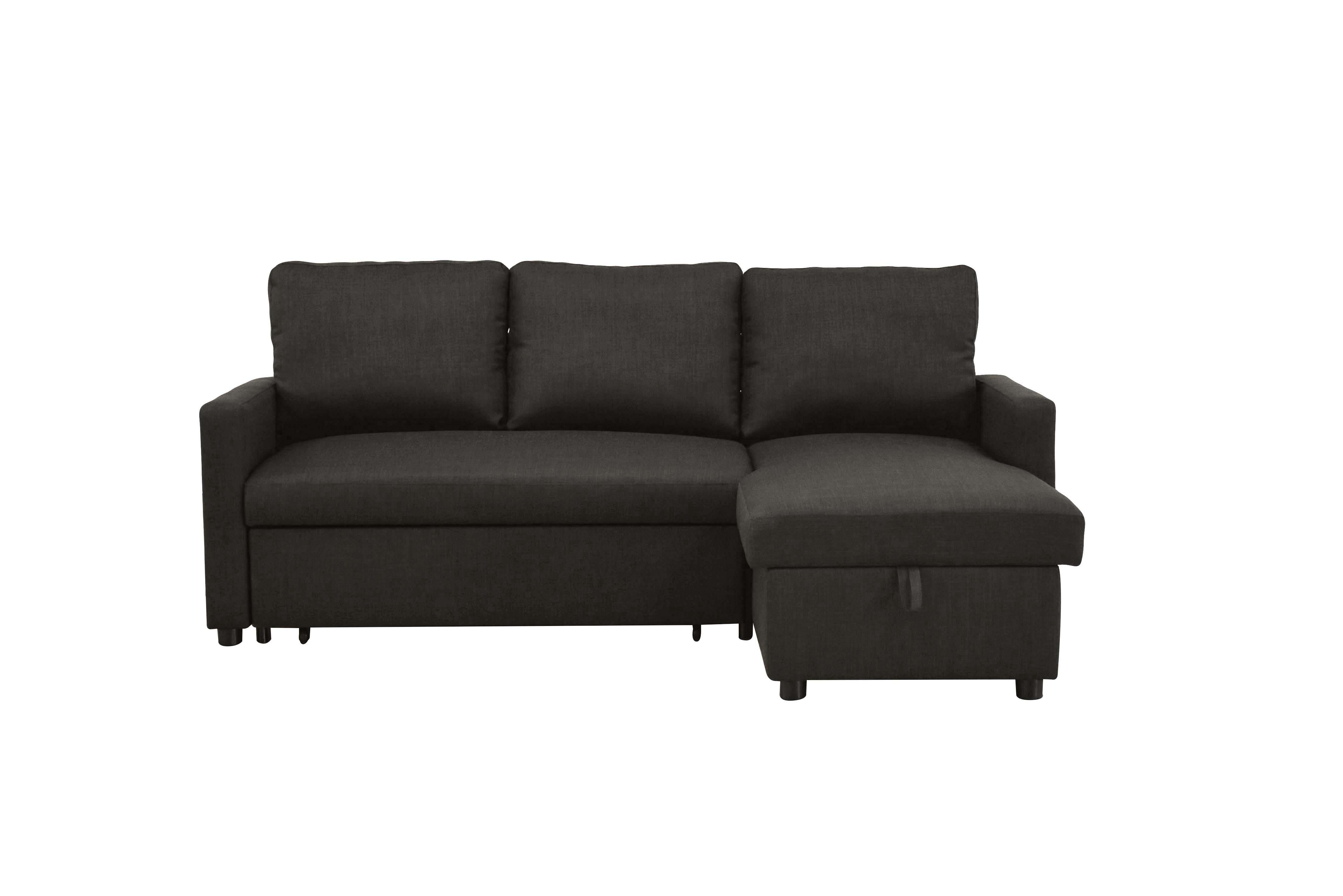 Hilton S Sectional Sofa With Sleeper And Storage Charcoal Linen Di 2020