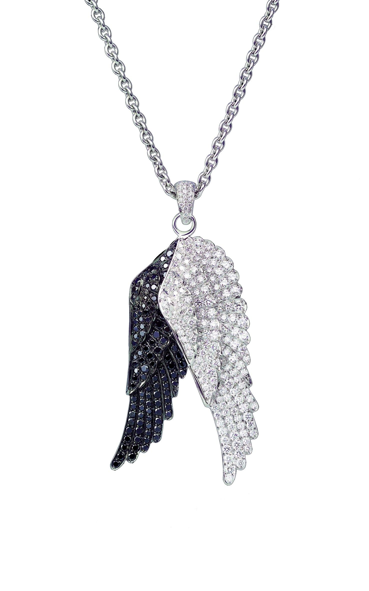 Wings double pendant with white and black diamonds created in