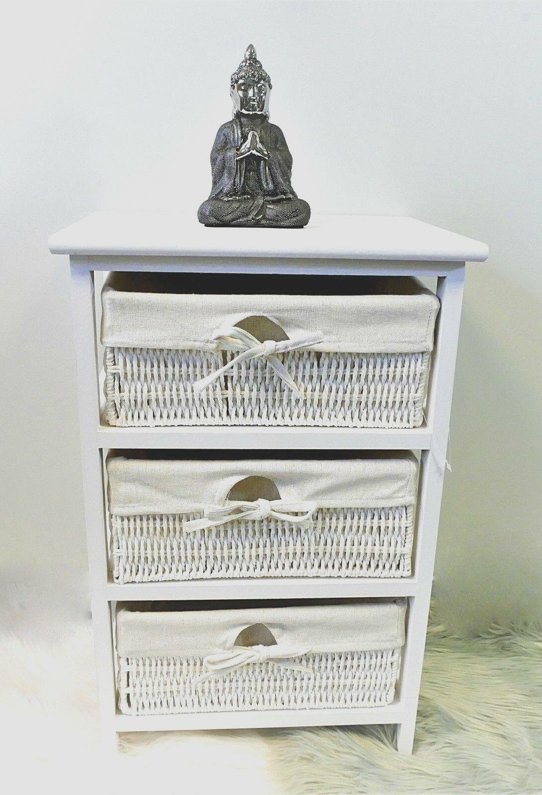 Details About 3 Drawer Wooden Frame Wicker Basket Drawer Storage