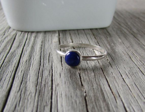 Deep blue indigo lapis lazuli gemstone sterling silver ring, comfortable to be worn everyday either alone or in a group of stacking rings. At