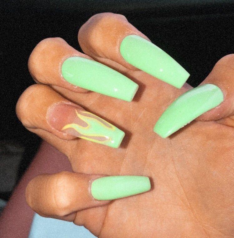 Lil Green Flame Nails Art Girl Polish Cute Makeup Green Acrylic Nails Blue Acrylic Nails Flame Nail Art