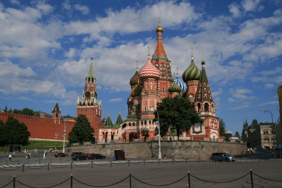 Distance shot of St. Basils Cathedral, Russia   Picfari.com