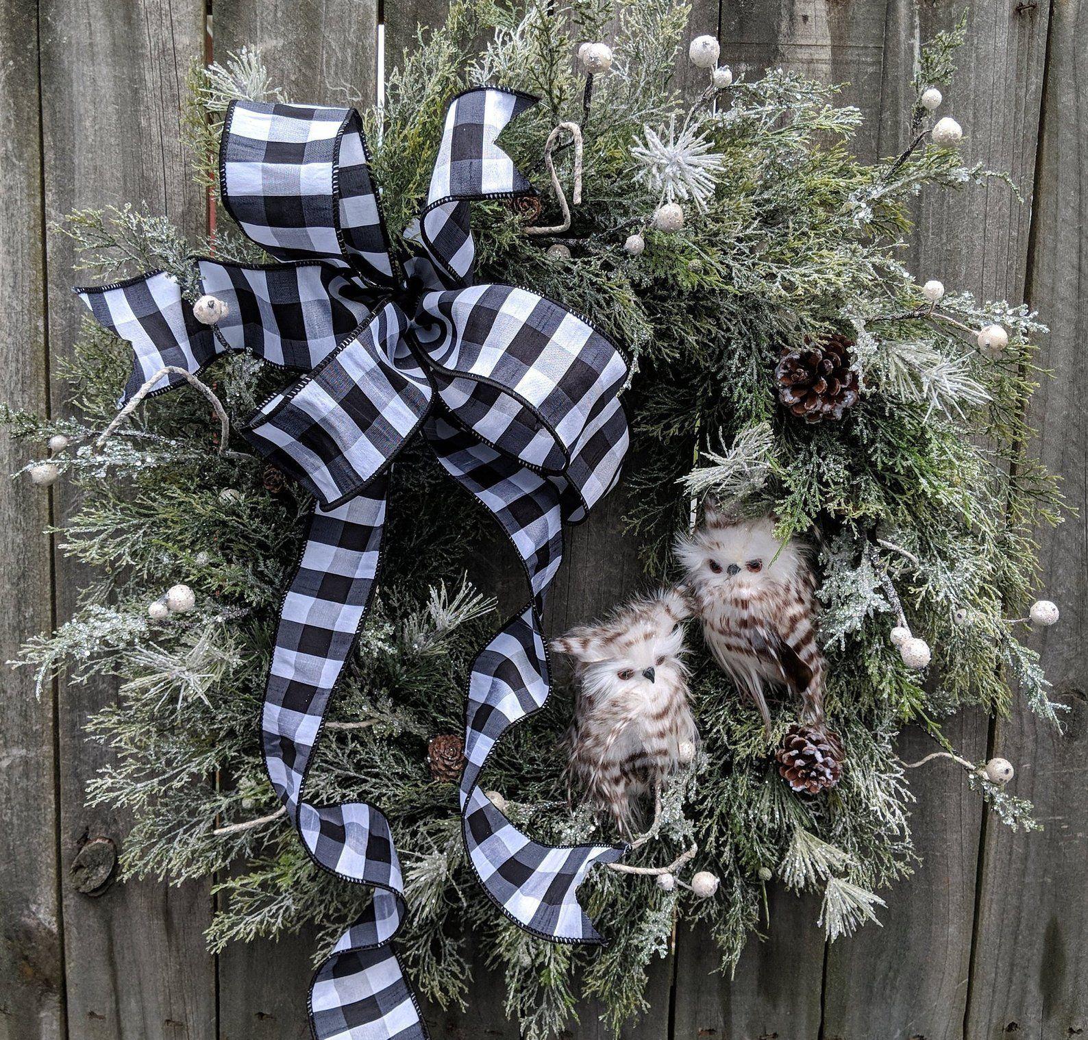 Christmas Wreath Owl Wreath Winter Wreath Black And White Owl Wreath Black And White Christmas Icy Wreath Owl Wreaths Christmas Wreaths Christmas Mesh Wreaths