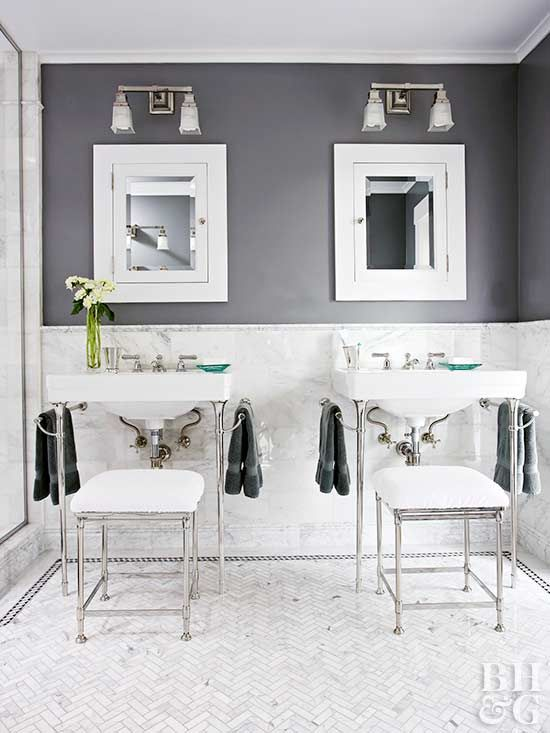 Neutral Paint Colors Bathroom gray, Marble tiles and Wainscoting