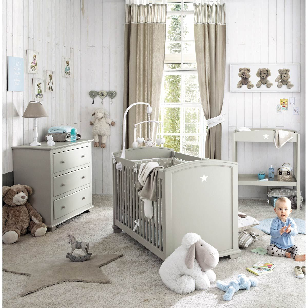 commode enfant en bois taupe l 90 cm pastel maisons du. Black Bedroom Furniture Sets. Home Design Ideas