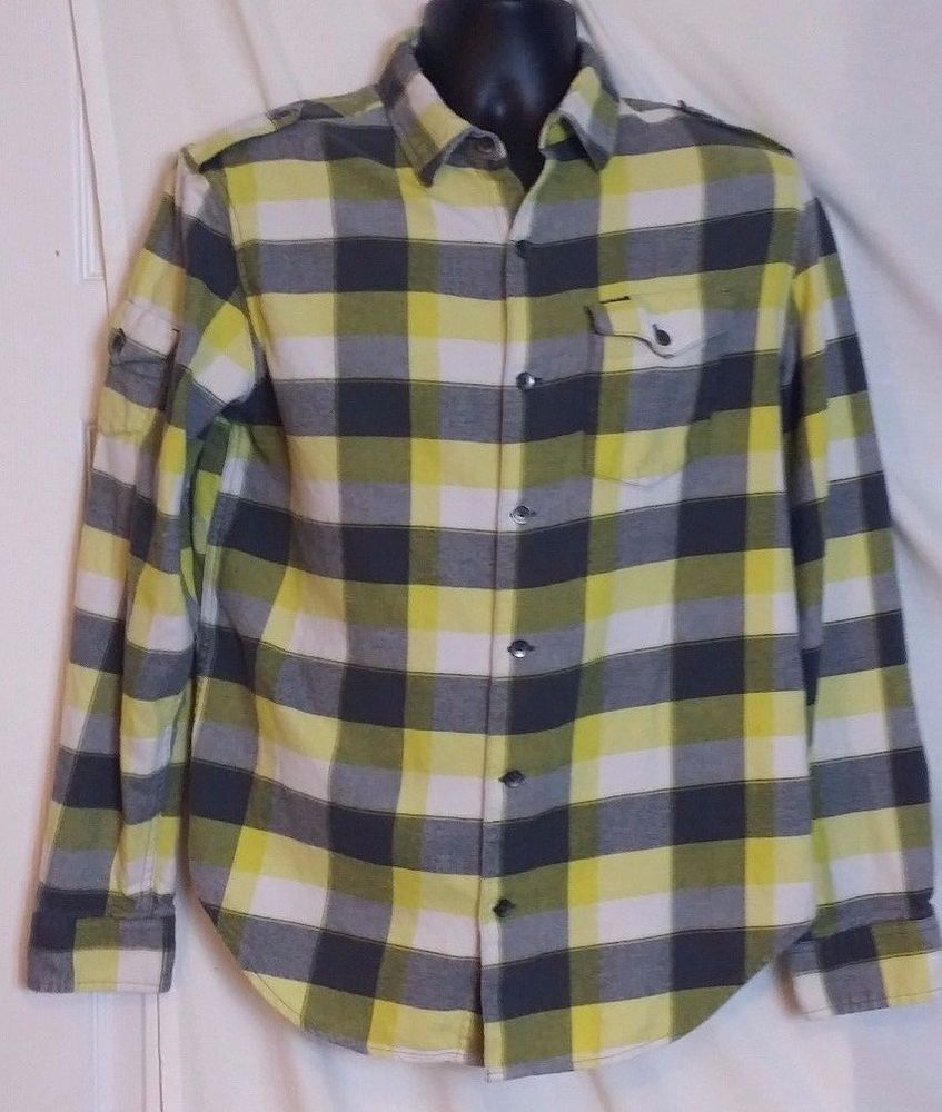 Yellow flannel outfits  Hurley Menus Multi Color Plaid Flannel Button Front Shirt with
