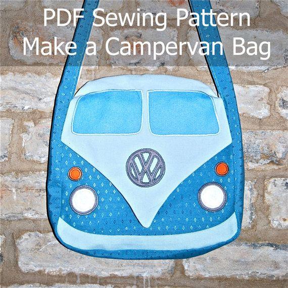Downloadable PDF Sewing Pattern to make a Campervan Bag / Purse ...
