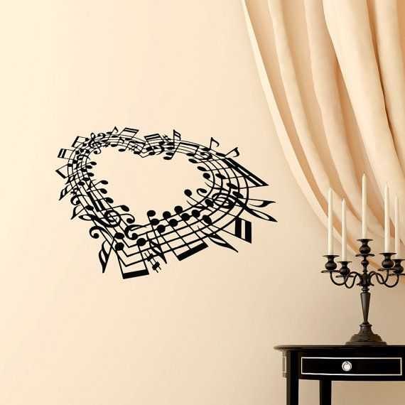 Music Note Heart Wall Decal Bedroom- Love Wall Decal Music Wall Art ...