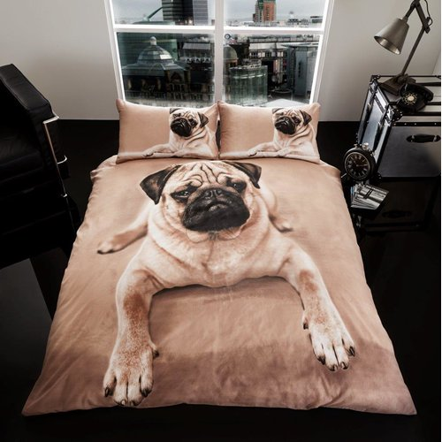 Mccauley 3d Pug Dog Duvet Cover Set Happy Larry Size Double 2