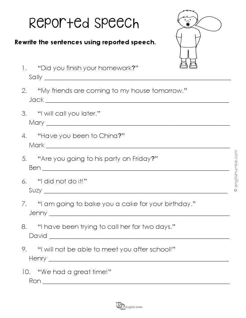 Reported Speech Worksheet Reported Speech English