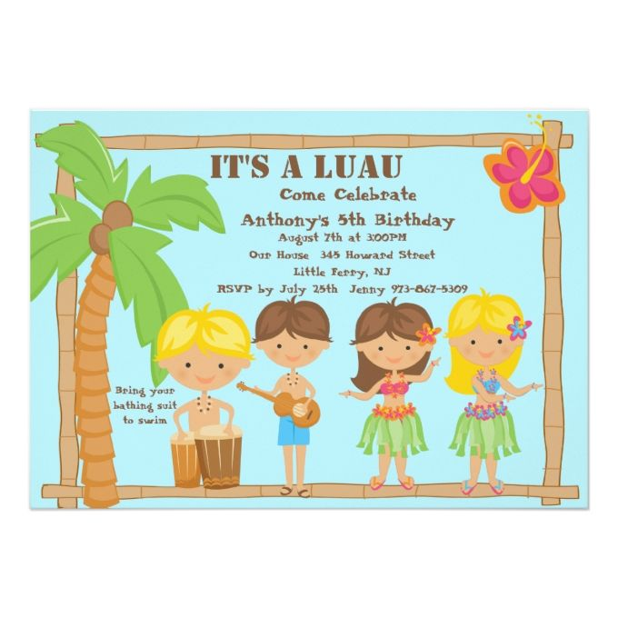 All kids luau birthday invitation luau birthday invitations luau all kids luau birthday invitation filmwisefo