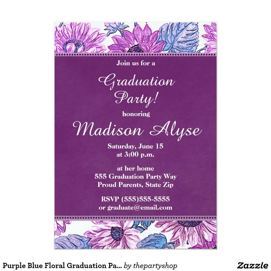 Purple blue floral graduation party invitation pinterest party purple blue floral graduation party invitation httpzazzle thepartyshoprf238200194340614103 filmwisefo