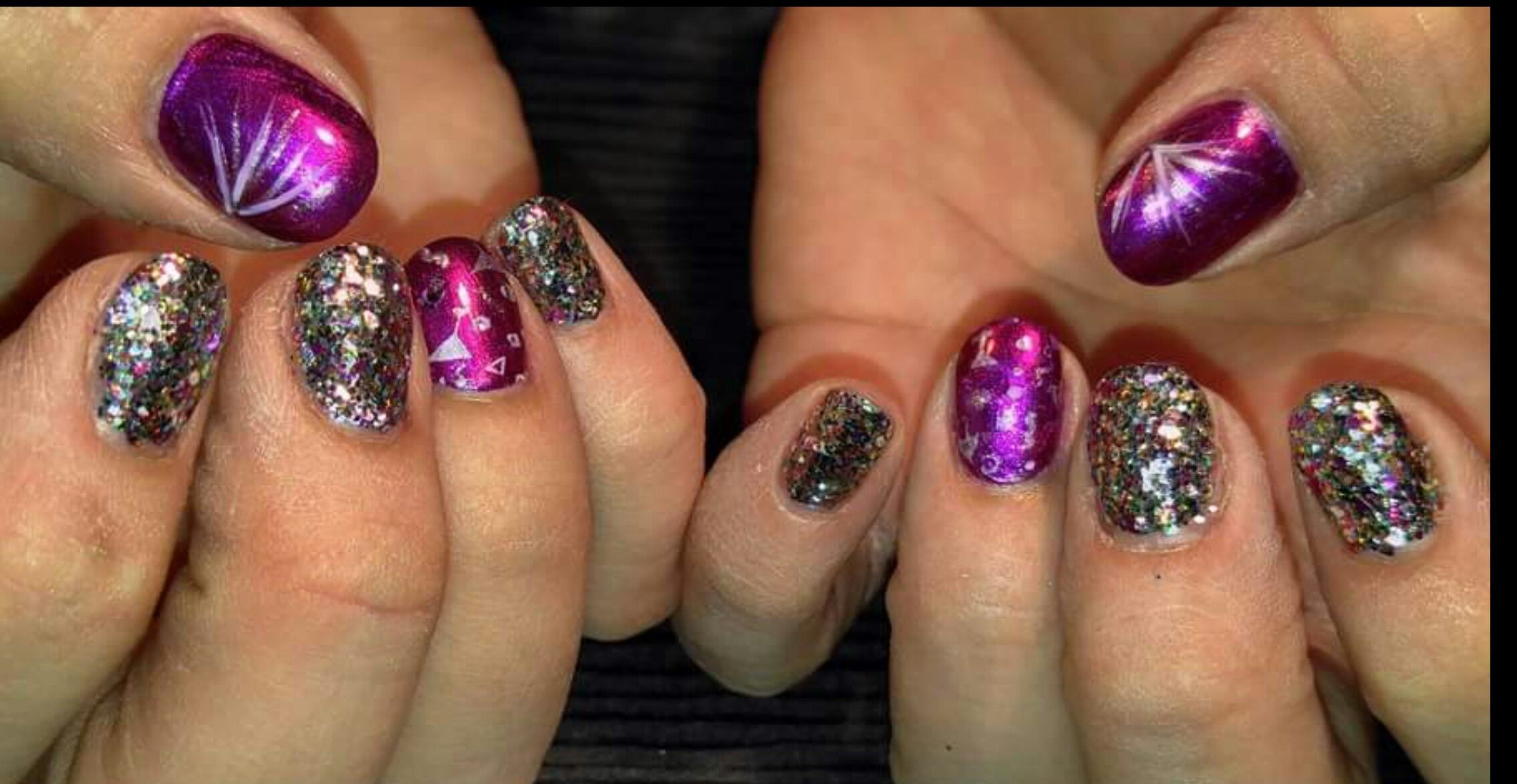 New Year\'s Eve nails! Acrylic nails with stamped nail art and hand ...