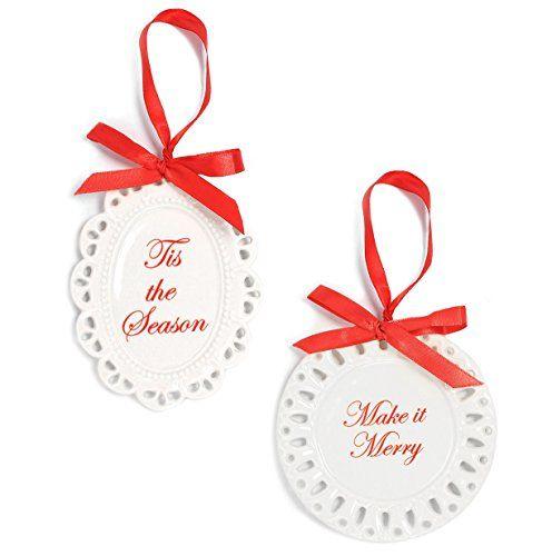 Holiday Lane Scalloped White Porcelain Plate Christmas Ornaments ...