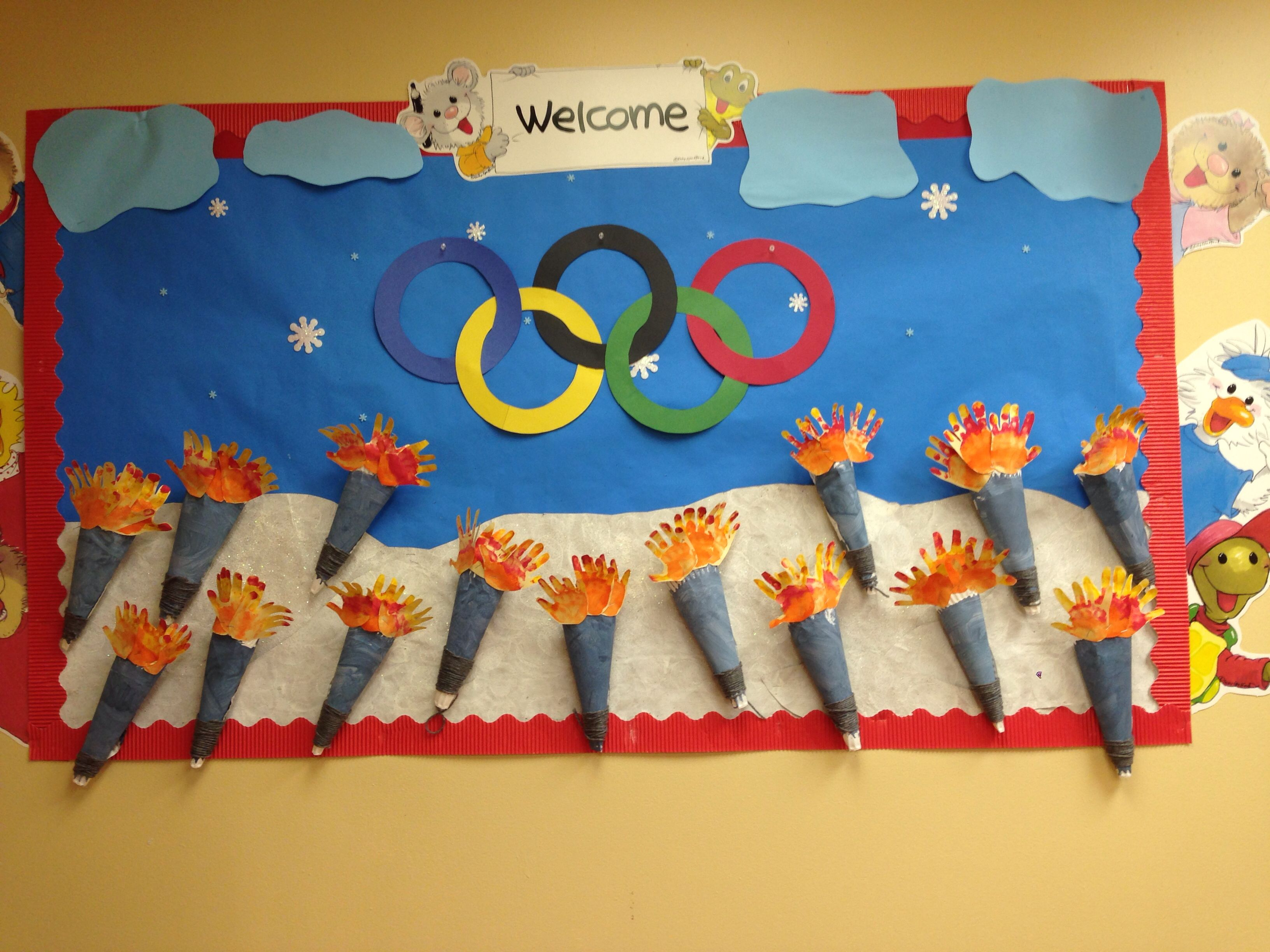 Olympic bulletin board Sports day decoration Olympic