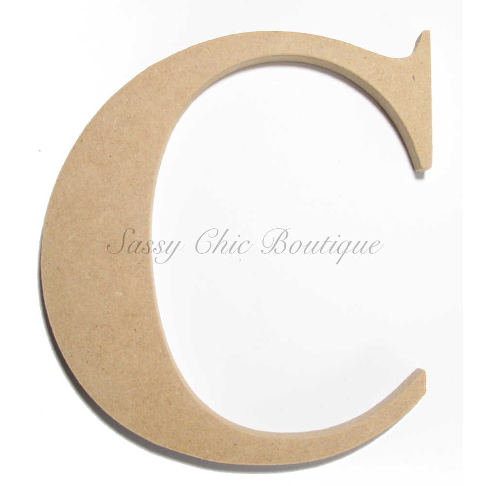 unfinished wooden letter uppercase c times font