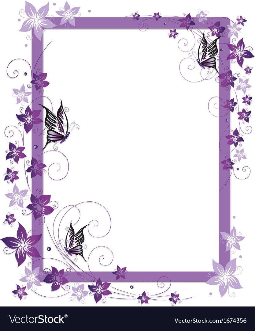 Purple frame flowers vector image on Flower frame