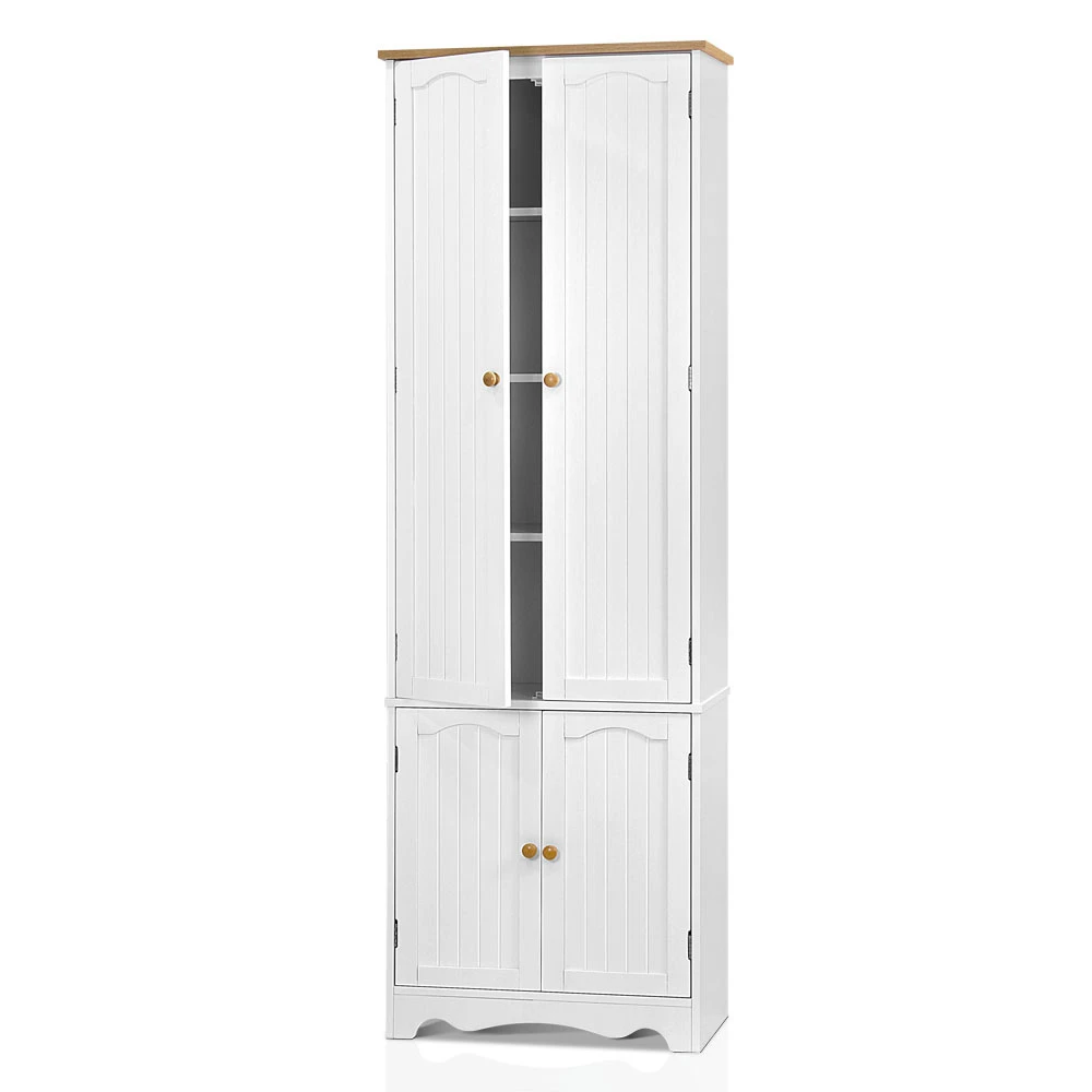 Artiss 6 Tier Wooden Kitchen Pantry Cabinet White Lifestylz In 2020 Wooden Kitchen Pantry Cabinet Kitchen Pantry Cabinets