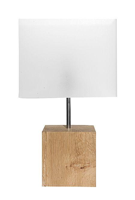 Solid Oak Square Lamp Base, Square Wood Table Lamp Base