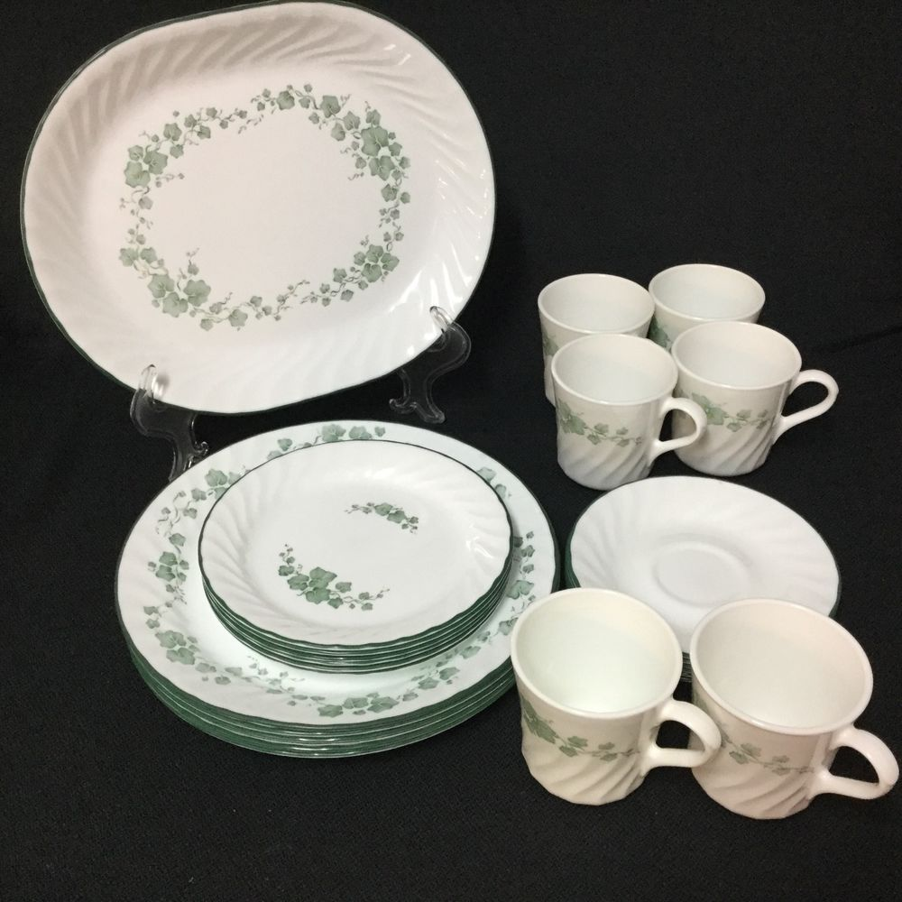 CORELLE CORNING CALLAWAY 25 and 24 PC Dinnerware Green Ivy plates cups saucers & CORELLE CORNING CALLAWAY 25 and 24 PC Dinnerware Green Ivy plates ...
