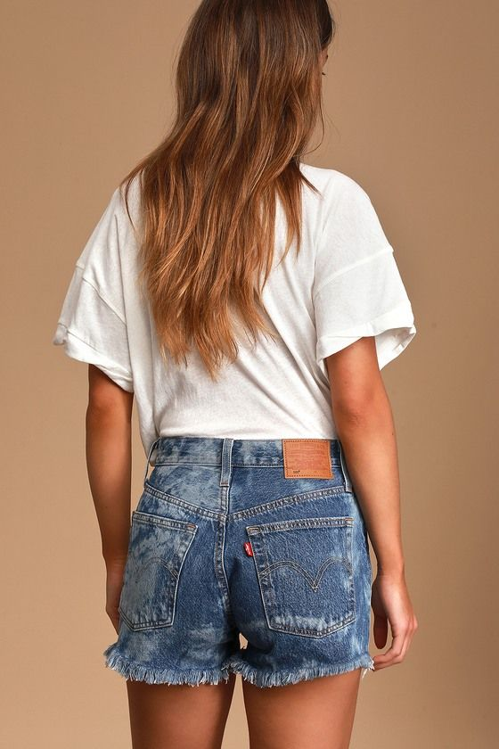 501 Bleached Medium Wash High-Rise Denim Cutoff Shorts