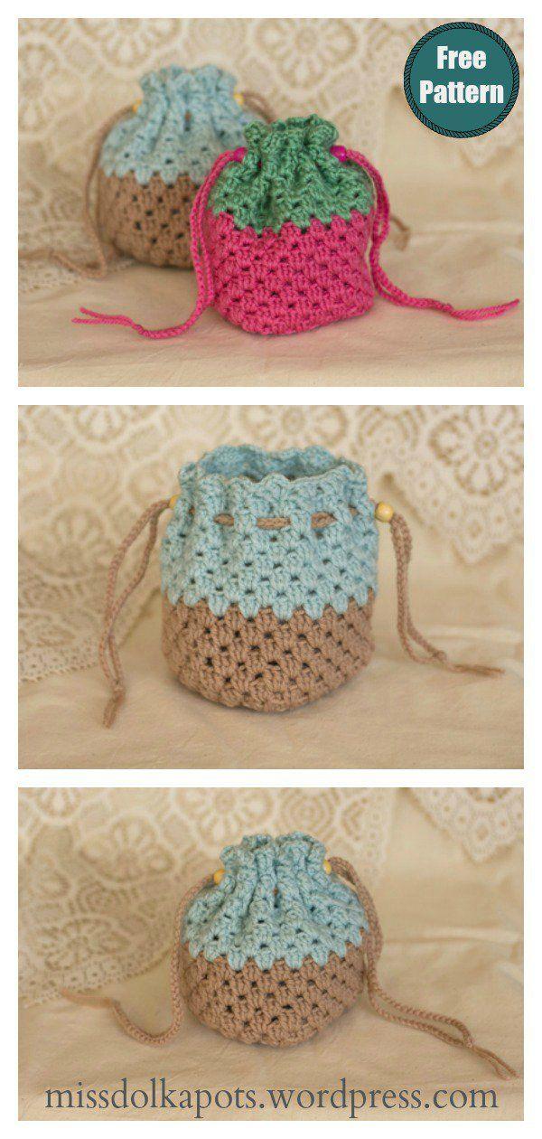 Granny Square Drawstring Bag Free Crochet Pattern and Video Tutorial