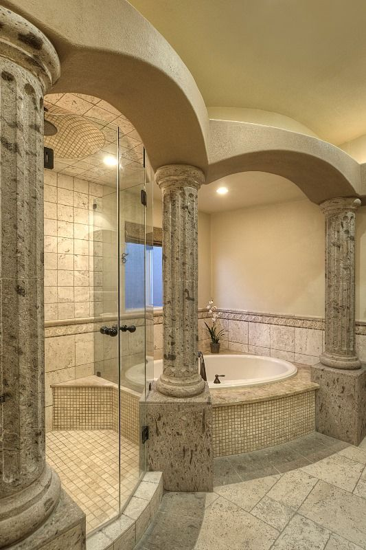 Ordinaire Columns And Arches Made Of Natural Stone Surround This Majestic Bathroom. |  A Roman Style Master Bathroom | Pinterest | Natural Stones, Columns And Arch
