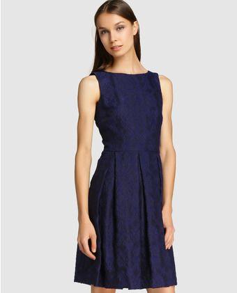893b23fa98 Vestido corto de mujer Roberto Verino azul marino con relieve ...
