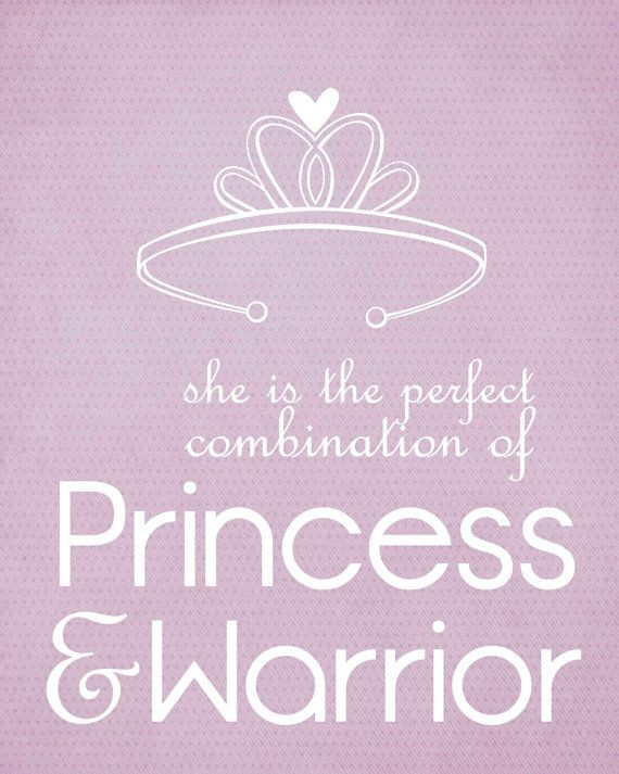 Princess Warrior Digital Typographic Art Print Pink Little Girl