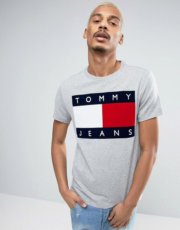 00d7615fb Tommy Jeans 90s Flock Logo T-Shirt M1 in Gray Marl | Summer | Shirts ...