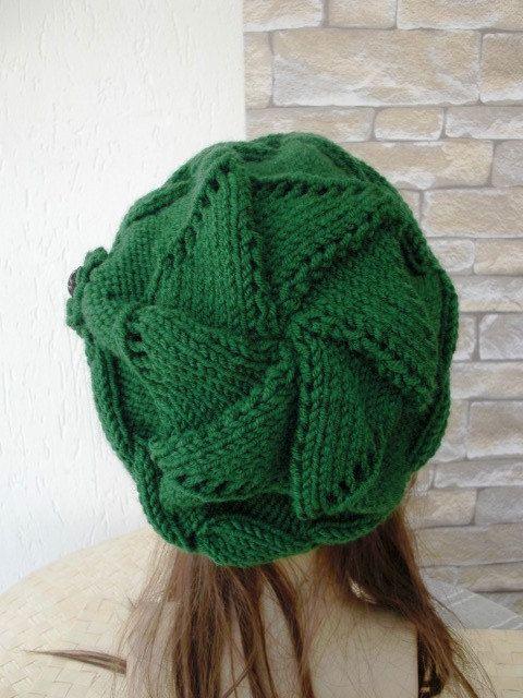 Slouchy Hat Sombrero de punto verde novia regalo por Ebruk   Gorros ...
