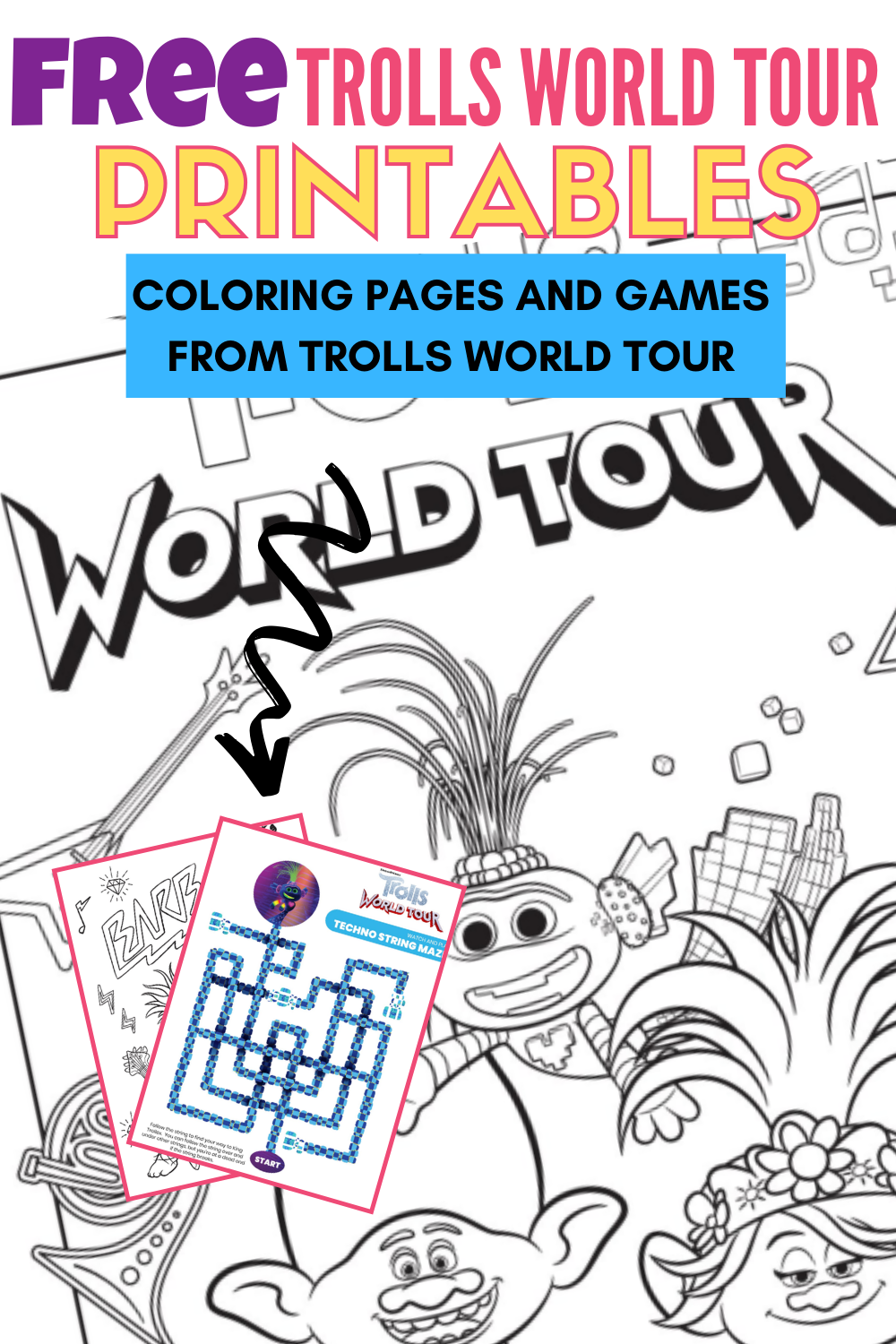 Free Trolls World Tour Coloring Pages And Printable Activities Coloring Pages Coloring Pages For Kids Tours