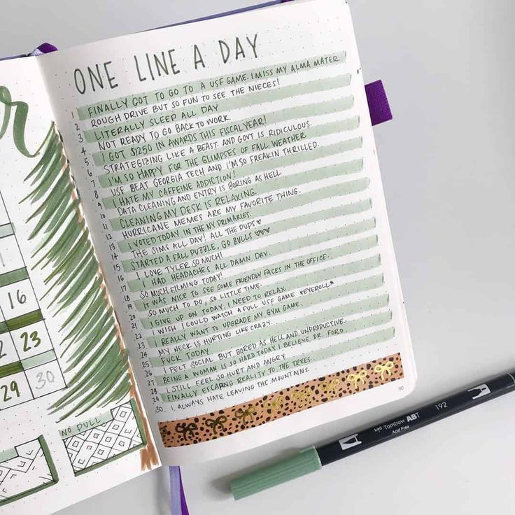 "45 different styles to create ""One Line a Day"" in your Bullet Journal 