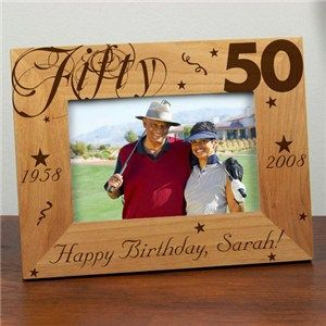 Personalized 50th Birthday Picture Frame Fiftith Birthday Party