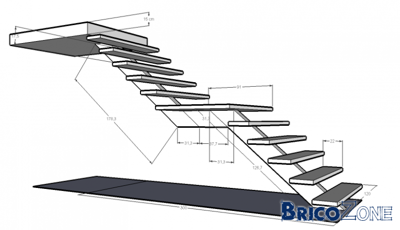 escalier droit avec un palier