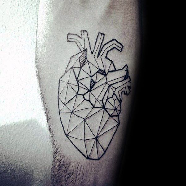 Unique Geometric Heart Mens Inner Forearm Tattoo Design Ideas ...