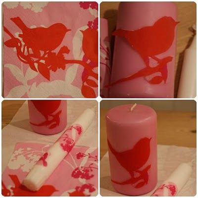 Make decals on your candles with napkins