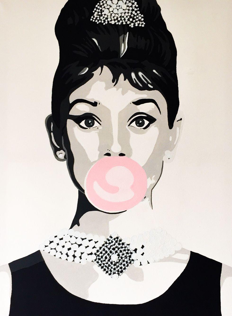 Audrey Hepburn Acryl On Canvas Popart Made By Anne Van Iersel Audrey Hepburn Kunst Gemälde Acryl Pop Art