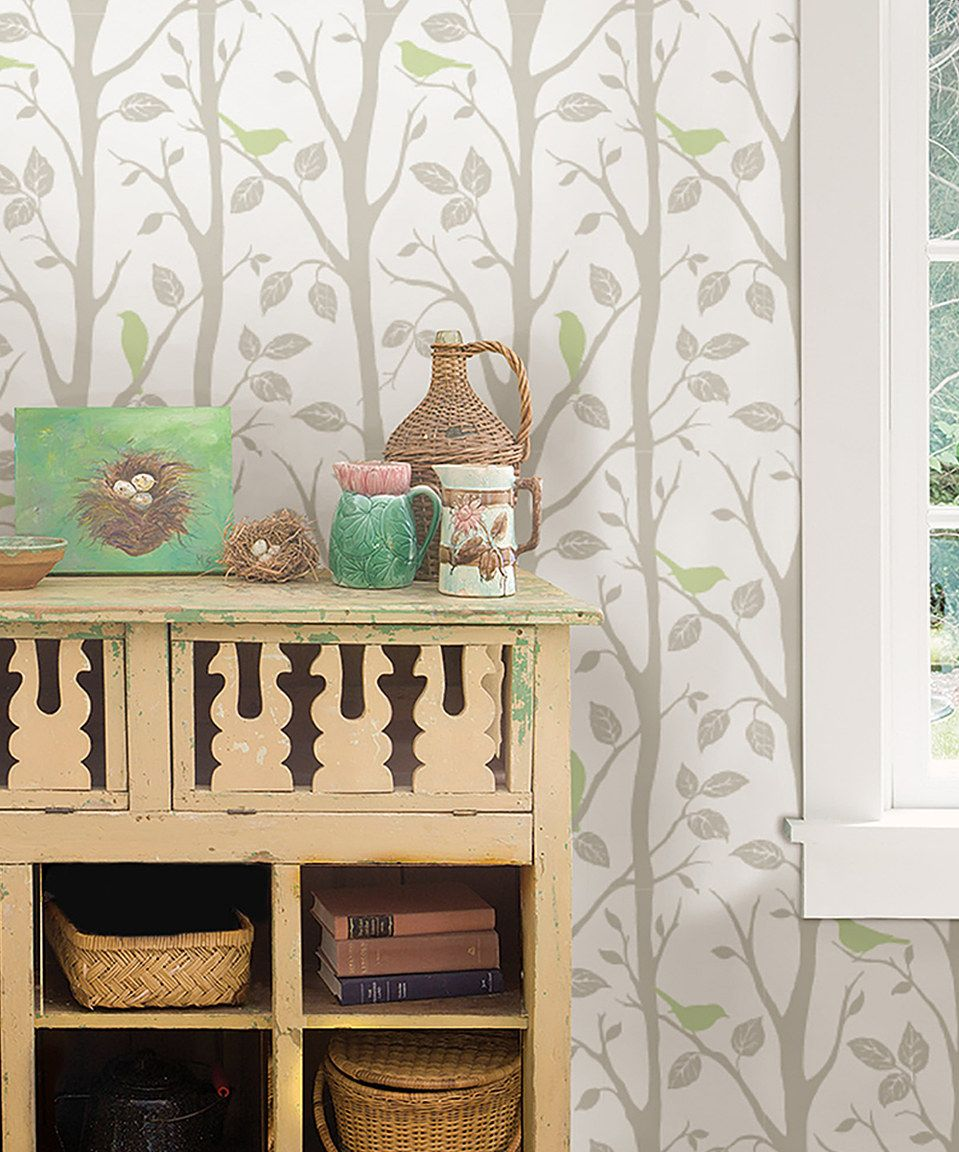 Gray Green Sitting In A Tree Peel Stick Wallpaper Peel And Stick Wallpaper Sophisticated Decor Sitting In A Tree