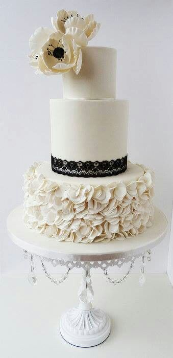 White and black elegant cake
